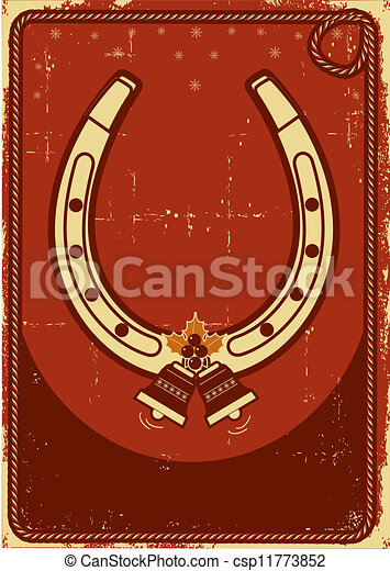 Clipart vector of christmas card background with lucky for Horseshoe christmas art