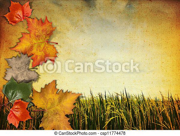 old antique vintage paper background with autumn leaf - csp11774478