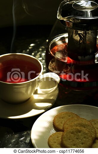 A photo series illustrating a tea break. Tea served with biscuits as the meal.  Taken in outdoor and indoor environment. Great images for food and beverages and can also serve as illustration for rela - csp11774656