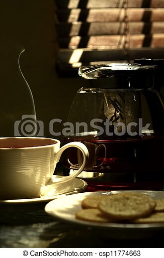 A photo series illustrating a tea break. Tea served with biscuits as the meal.  Taken in outdoor and indoor environment. Great images for food and beverages and can also serve as illustration for rela - csp11774663