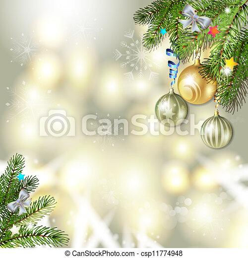Christmas balls and pine tree - csp11774948