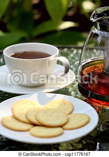 A photo series illustrating a tea break. Tea served with biscuits as the meal.  Taken in outdoor and indoor environment. Great images for food and beverages and can also serve as illustration for rela - csp11776167