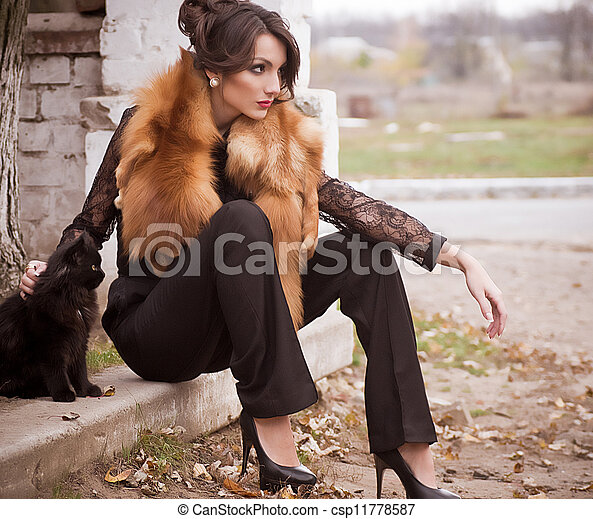 woman in fashion clothes and cat - csp11778587