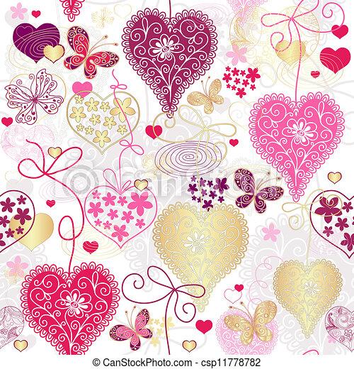 Seamless motley valentine pattern - csp11778782