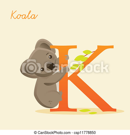 Animal alphabet with koala - csp11778850