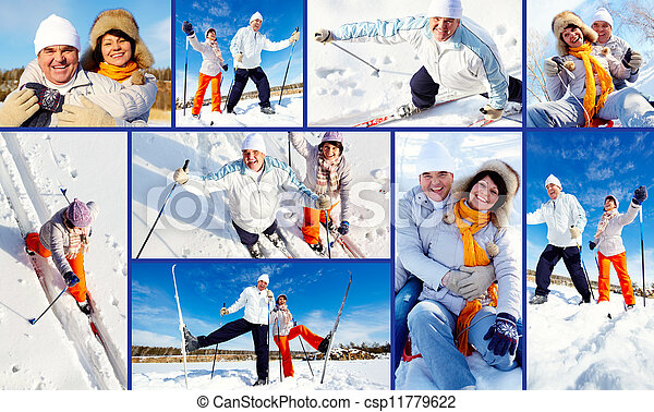 Collage of mature couple enjoying winter outside