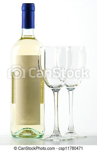 image de bouteille blanc vin vide vin lunettes csp11780471 recherchez des photographies. Black Bedroom Furniture Sets. Home Design Ideas
