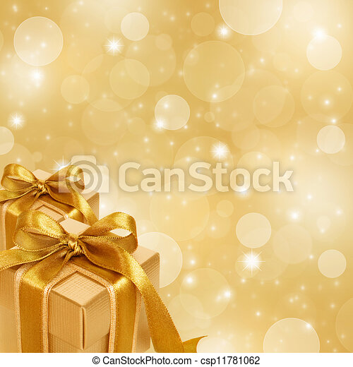 gold gift box on abstract gold Christmas background - csp11781062