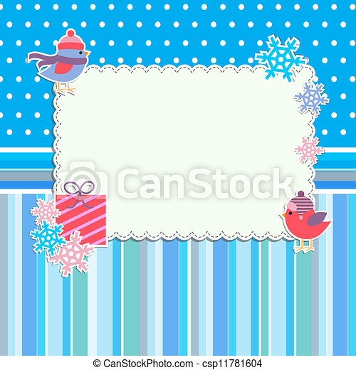 Winter frame with cute birds and snowflakes - csp11781604