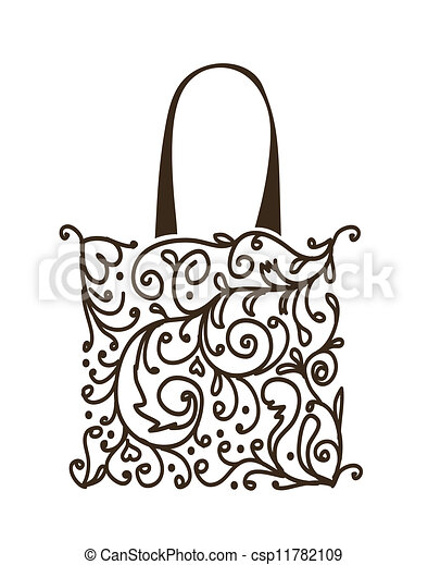 Shopping bag design, floral ornament - csp11782109