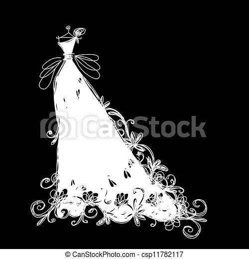 Wedding dress Vector Clipart EPS Images. 11,999 Wedding dress clip ...