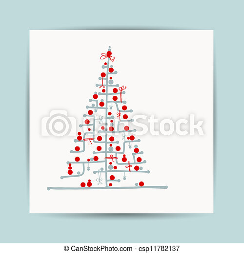 Christmas tree, postcard design with place for your text - csp11782137