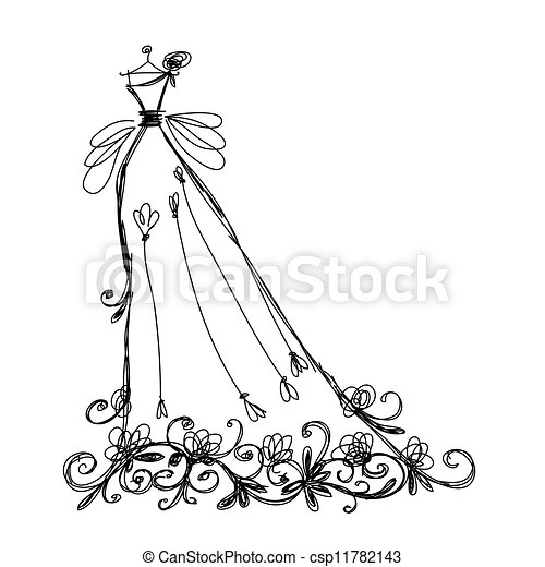 Sketch of bridal dress with floral ornament for your design - csp11782143