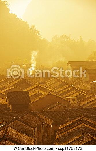 historic interest in china guangxi yangshuo huangyao - csp11783173