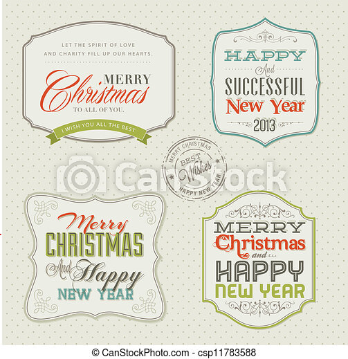 Set of vintage Christmas cards - csp11783588