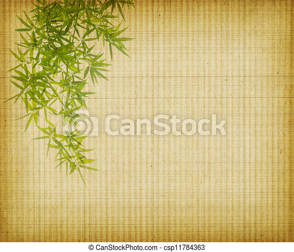 bamboo on old grunge antique paper texture - csp11784363