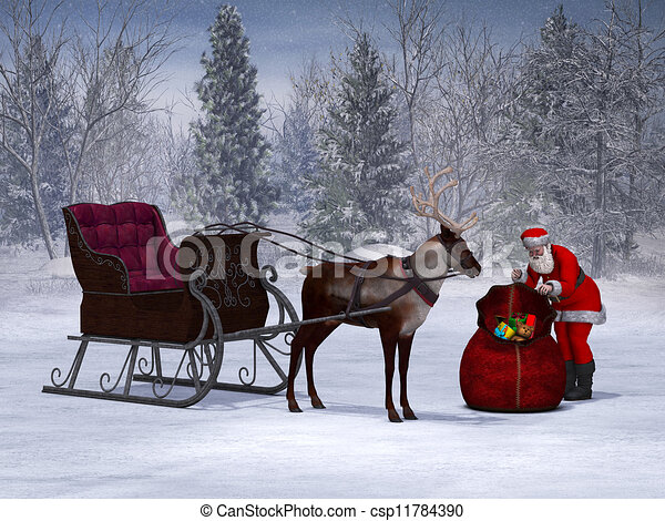Stock Illustration of Santa preparing his sleigh ride. - Santa packing ...