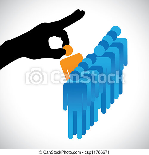 Concept illustration of choosing the best employee. The graphic shows company HR represented by hand silhouette making a choice of a person with right skills for the job among many other candidates - csp11786671