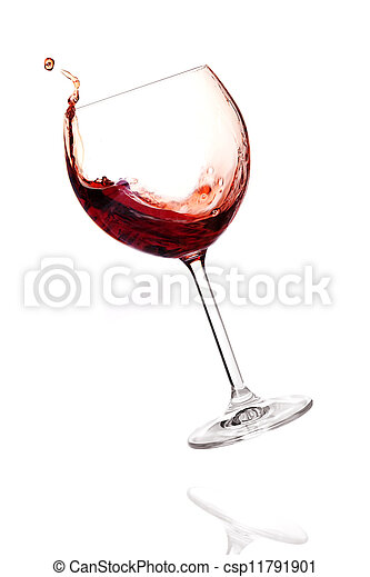 Wine collection - Red wine in falling glass - csp11791901