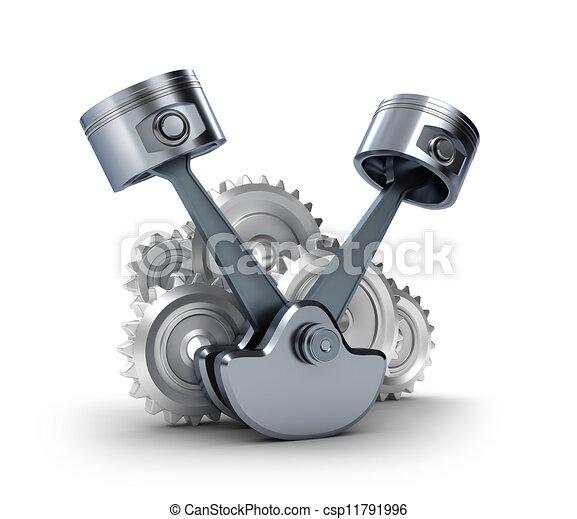 V8 Engine Clipart Illustration de piston...