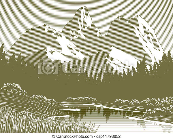 Woodcut Mountain Lake Scene - csp11793852