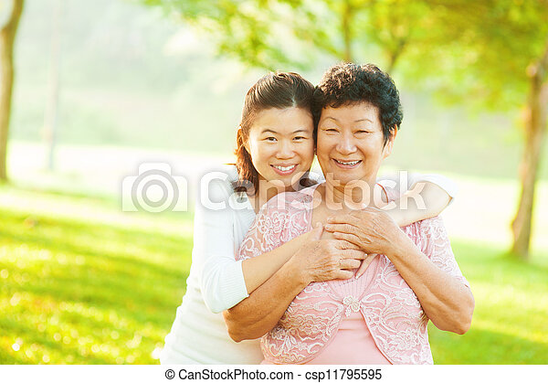 Senior mother and adult daughter - csp11795595