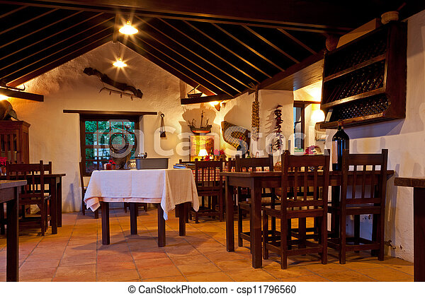 Canarian Rural Restaurant Interior - csp11796560