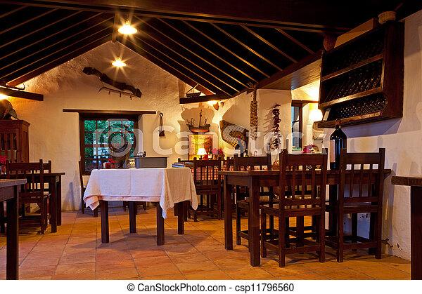 Canarian Rural Restaurant Interior - csp11796560