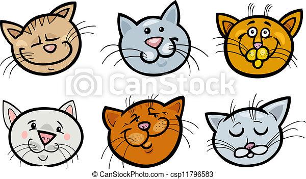 Vector de caricatura, divertido, gatos, Cabezas, Conjunto ...