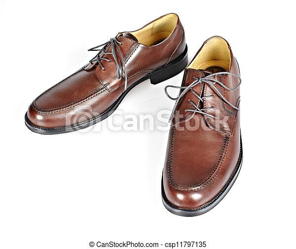 Brown man shoes. - csp11797135