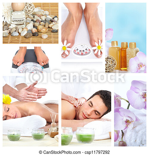 Beautiful Spa massage collage. - csp11797292
