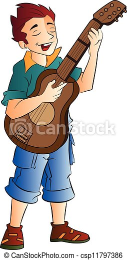 Vector of Male Singer and Guitarist, illustration - Young ...