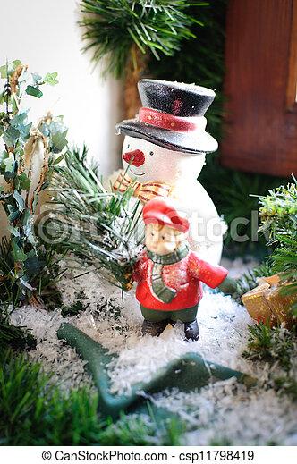 Snowman on the Window Sill - csp11798419
