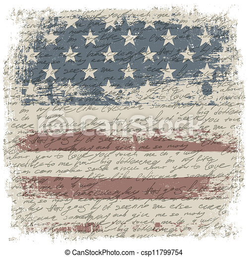 Vintage usa flag background with isolate grunge borders. Vector illustration, EPS10 - csp11799754