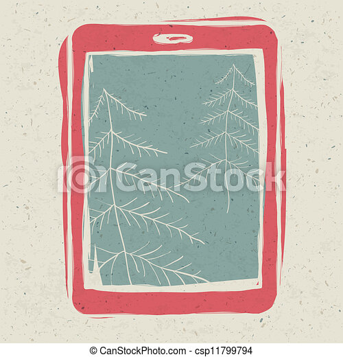 Christmas trees on tablet device screen, technology concept illustration, vector, EPS10.  - csp11799794