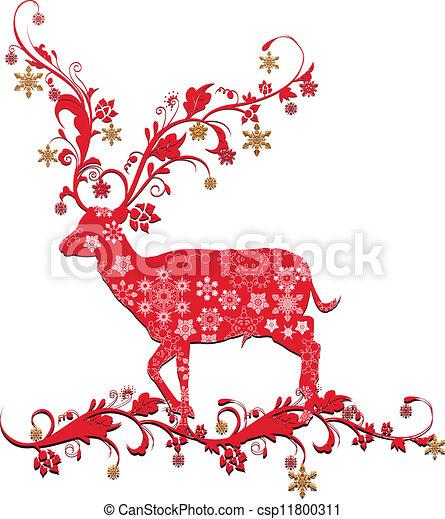 Christmas deer Clipart Vector and Illustration. 18,254 Christmas ...