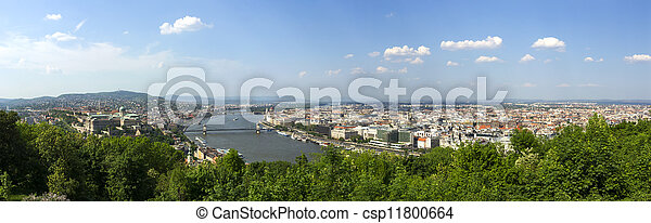 spring panoramic photo of the budapest historic center - csp11800664