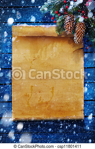 art Christmas  background, snow covered paper scroll - csp11801411