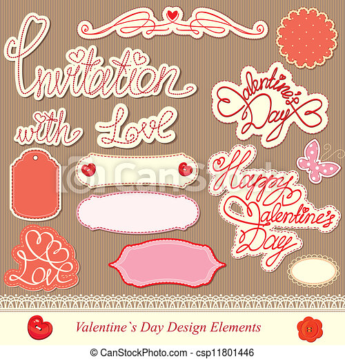 valentine's day design elements - csp11801446