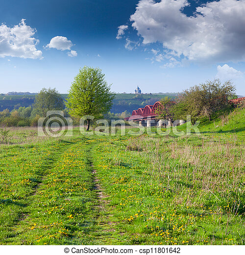 Spring landscape near the river - csp11801642