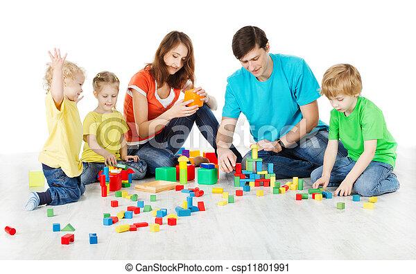family playing toys blocks - csp11801991