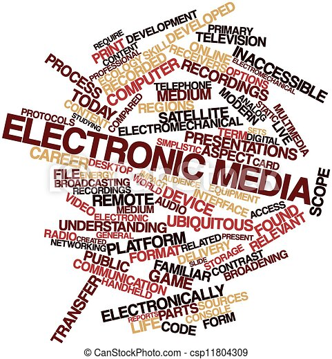 Stock Illustration of Electronic media - Abstract word ...