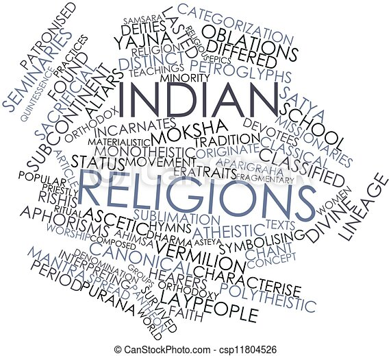 Word cloud for Indian religions - csp11804526