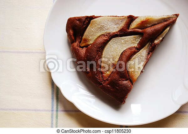 Chocolate cake with pears - csp11805230
