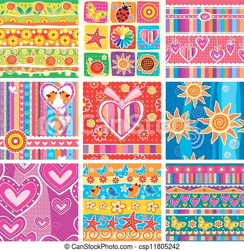 Set of childrens seamless pattern - csp11805242