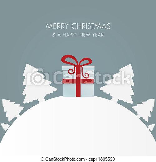 gift box red white christmas tree  - csp11805530