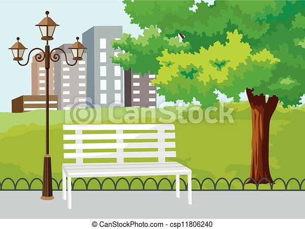Public Park in The City Vector  - csp11806240