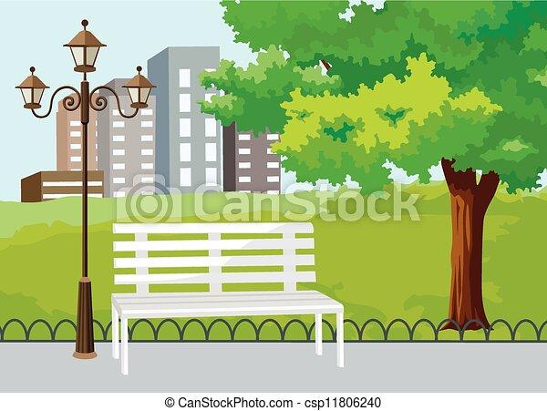 Public Park in The City Vector - csp11806240