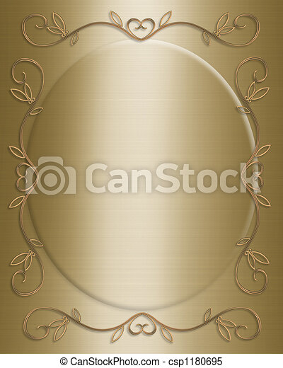 Wedding invitation gold - csp1180695