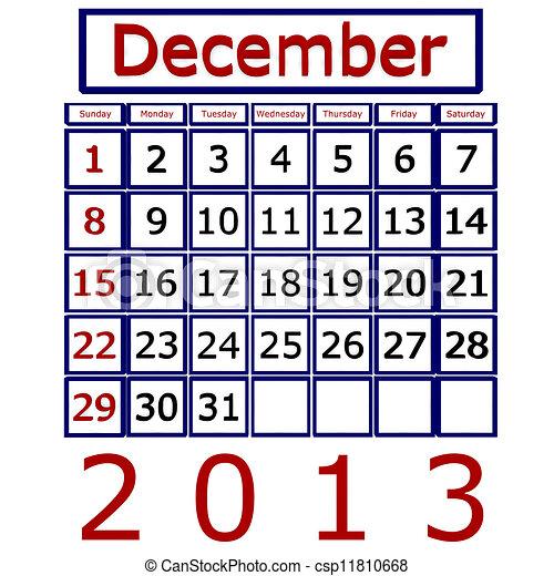 Stock de ilustracion de diciembre 2013 calendario for Clipart calendario